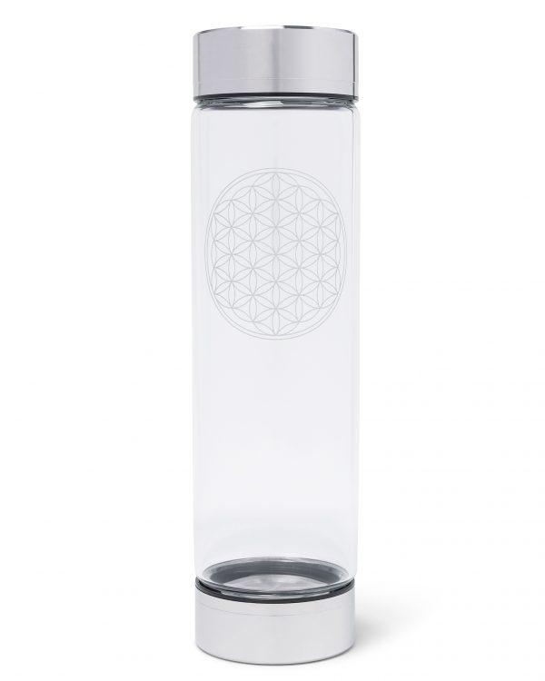 Lotos Flower Edelsteinwasser Trinkwasserflasche mit Heilstein Rosegold, Edelstahl, Silber, Rosenquarz, Bergkristall, Blume des Lebens, Liebe, Mantra