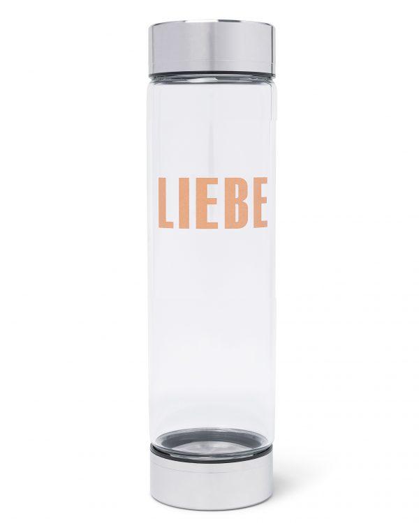 Lotos Flower Edelsteinwasser Trinkwasserflasche mit Heilstein Rosegold, Edelstahl, Silber, Rosenquarz, Bergkristall, Blume des Lebens, Liebe, Mantra, vitajuwel